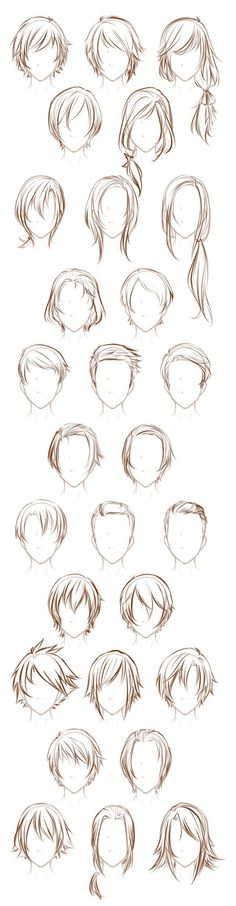 Different types of hairstyles for both men and women. -- Drawing tools, inspiration, creativity, reference sheet, guide, hair, character design