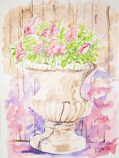 Artist Adron: Watercolor Sketch Of Flowers in Cracked Urn. commentary at the blog: http://artistadron.blogspot.com/2013/08/watercolor-sketch-of-flowers-in-cracked.html