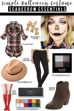 Simple adult scarecrow halloween costume and makeup look to try. Find almost eve. - Emma Lee home Scarecrow Halloween Makeup, Halloween Costumes Scarecrow, Hallowen Costume, Unique Halloween Costumes, Halloween Makeup Looks, Costume Ideas, Scary Halloween, Scare Crow Costume Diy, Halloween Outfits