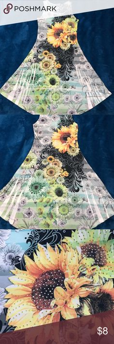 🌻 Rhinestone Sunflower Dress 👗 Like new condition!! Shorter in the front and hangs lower in the back. Dresses
