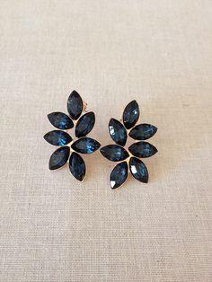 Navy blue earrings, Swarovski crystal earrings, cluster earrings, bridal something blue earrings, bridesmaid gift, dark blue