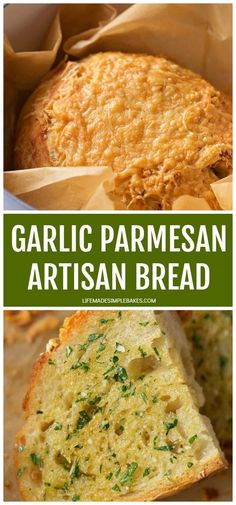Home Remodel Kitchen Foolproof garlic parmesan artisan bread. Its crusty on the outside, soft on the inside and loaded with garlic, a hint of rosemary and lots of cheese! No Knead Bread, Sourdough Bread, Yeast Bread, Garlic Cheese Bread, Garlic And Herb Bread Recipe, Homemade Garlic Bread, Garlic Butter, Blog Food, Dutch Oven Bread