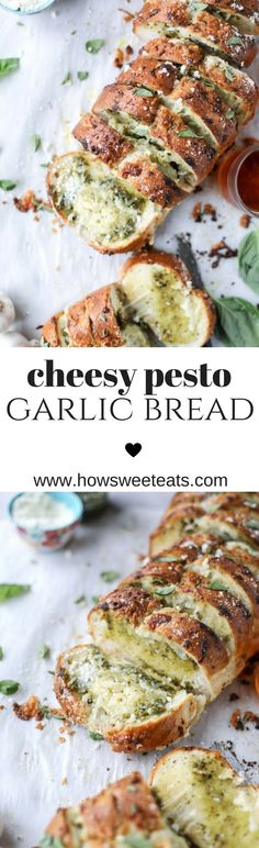 Cheesy Pesto Garlic Bread (video!) I howsweeteats.com @howsweeteats