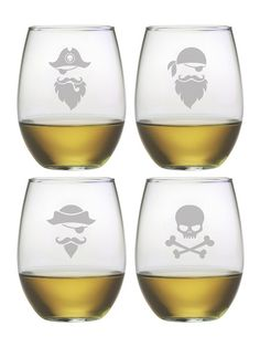 "Aye, Aye Captain. These cleverly designed Pirate Faces/Skull & Crossbones glasses are just what you need to drink your ""poison"" from."