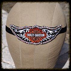 Swarovski Crystal Harley Davidson Headband by glamourpusscouture, #harleydavidson #motorcycle #biker