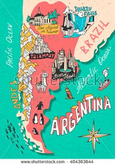 Illustrated map of argentina. cartography art print by daria_i Argentina Map, Argentina Travel, Travel Maps, Travel Posters, Travel Journals, Lovely Travels, South America Destinations, Country Maps, City Maps