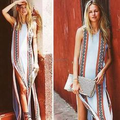 ☂bohemian maxi long dress☂ Beautiful printed bohemian dress, with side slits, sleeves and a scoop neck Dresses Maxi