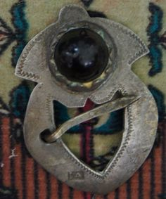 """1700's Iroquois Trade Silver Brooch set with Black Glass. Rocker Engraved & Hallmarked """"IA"""" Tested Sterling."""