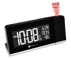 Ambient Weather Radio Controlled Projection Alarm Clock with Color Changing Temperature Display Atomic Wall Clock, Led Wall Clock, Radio Alarm Clock, Digital Alarm Clock, Unique Alarm Clocks, Clocks By Coldplay, Clocks Fall Back, Projection Alarm Clock, Real Time Clock