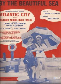 By the Beautiful Sea, Vintage Sheet Music, Republic Pictures Movie, Atlantic City, 1940's Popular Music, Piano Music, Red, White, Blue by BettywasaBombshell on Etsy
