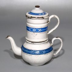Vintage French Enamelware Enamel Coffee Pot, White & Blue with Gilding, Stamped