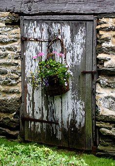 Uma velha (e linda) porta rústica, contrastando com a delicadeza do vaso com flores....