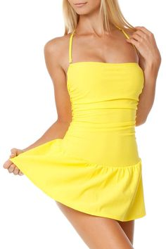 Newport News Ruched Swimsuit In Sun Yellow