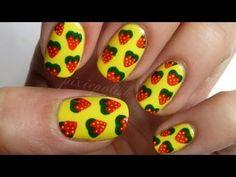 Strawberry Print Nail Art - YouTube
