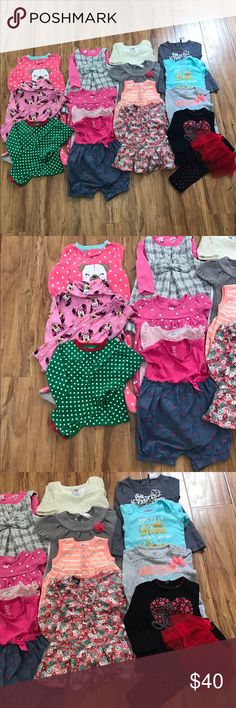 12 month lot 20 piece lot  1 footie pijama 2 sets of matching pijamas (4 pieces)  4 dresses (1 -2 piece) 3 short rompers 1 skirt/ top set (2 pieces)  1 long sleeve tunic 1 long sleeve onesie  1 long sleeve top 1 long sleeve matching set (2 pieces)   Brands  Carter's  Disney Just one you by Carter's  Oshkosh  Cherokee  Garanimals Other