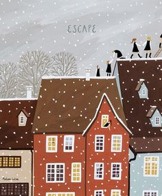 / escape / illustration by madam lolina / Winter Illustration, Christmas Illustration, Illustration Sketches, Children's Book Illustration, Illustrations And Posters, Painting Inspiration, Art Inspo, Up Girl, Christmas Art