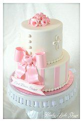 Baby Dedication/Baptism Party: Two-Tiered Pink and White Cake