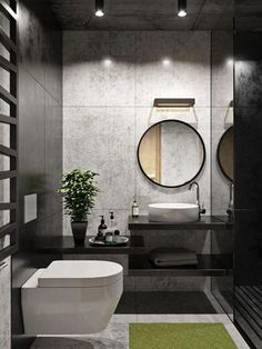Санузел love the fabulous grey & black walls in this beautif Bathroom Design Luxury, Modern Bathroom Design, Bathroom Layout, Bathroom Ideas, Modern Toilet Design, Bath Ideas, Bathroom Designs, Bathroom Renovations, Grey Bathrooms