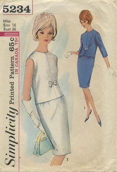 Vintage Sewing Pattern | Two-piece Dress | Simplicity 5234 | Year 1963 | Bust 36 | Waist 28 | Hip 38