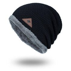Mens Winter Plus Velvet Knit Solid Outdoor Warm Caps Knit Beanie 4159a736936e