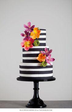 black and white stripe cake