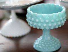 Robin Egg Blue Milk Glass Pedestal / Aqua by RocheStudioVintage
