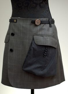 Recycled men suit. I don't like the inside out pocket, but otherwise, this is really creative.