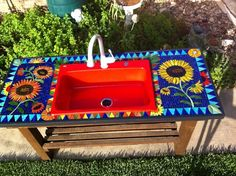 Mosaic Outdoor Sink, Vegetable Washing B - Delphi Stained Glass
