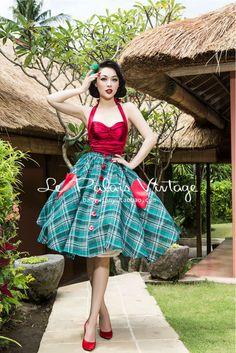 Livraison gratuite Le Palais Vintage édition limitée rétro vert à carreaux grande balançoire jupe taille poche coeur