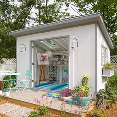 #shed #backyardshed #shedplans Style your She Shed as an art studio. With the French doors and skylights, you'll have plenty of opportunity to become inspired by your surroundings. Click the link in profile for the DIY instructions! #Lowes #SheShed #DIY