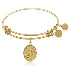 Expandable Bangle in Yellow Tone Brass with Initial S Symbol