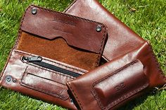 Brown Leather Tobacco Pouch with paper dispenser,lighter pocket and zipped pocket. Crafted from MADDOG leather Leather Tobacco Pouch, Leather Bag, Brown Leather, Medicine Bag, Cigarette Case, Vintage Marketplace, Leather Working, Leather Craft, Pure Products