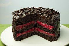 Paleo chocolate cake with raspberry filling