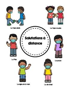 Social Distancing Greetings Posters FREEBIE en Français by Mademoiselle Ave Greetings Posters, Distance, Visual Cue, Type Posters, France, Teacher Newsletter, You Can Do, I Am Awesome, Kindergarten