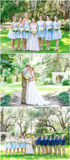 Southern bridal party fashion, mid-length bright blue bridesmaid dresses, navy blue groomsmen jackets, khaki pants, classic wedding dress, pastel florals, Spring wedding // Dana Cubbage Weddings