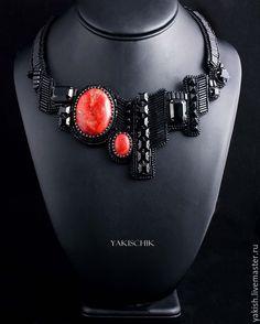 """Купить Колье""""La Femme Fatale"""" - черный, черно-красное колье, с кораллом, черное колье"""