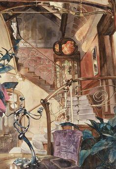 Cage d'escalier - fragment, Maison Victor Horta, Bruxelles 1992 by Paul Dmoch