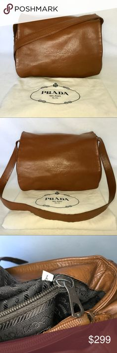 "Authentic PRADA Brown Leather Messenger Crossbody 💓 100% Authentic 💓  Includes Dust Bag  Excellent Condition Small polish spill on inside of one section.  All leather. Smooth leather on flap & sides, pebbled on bottom, rear & under flap.  Flap closure w/ magnetic snap & straps button on bottom to adjust depth (see photos). 3 inner compartments & inner side zip pocket w/ logo plaque.  H: 8"" L: 12"" D: (adjustable): 7""-9"" Strap Drop: 18""  🎁 I love to send surprise gifts! 🎁 I only use boxes…"