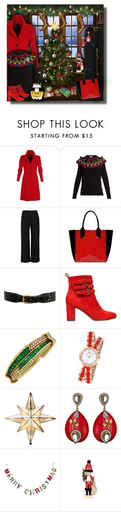 """""""Festive At-Home Christmas"""" by franceseattle ❤ liked on Polyvore featuring Etiquette, Stella Jean, RED Valentino, Marni, Gucci, Tabitha Simmons, Molyneux, Harry Winston, Christian Van Sant and GE"""