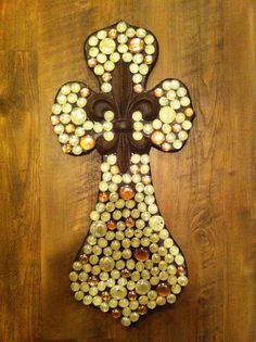 Decorated beaded cross by grammieself on Etsy, $60.00