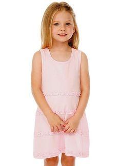 20103ad80db5e Girls 3-6X A-Line Lettuce Edge Ruffles Scoop Neck Sleeveless Dress - Kavio  | Wholesale Blank Clothes