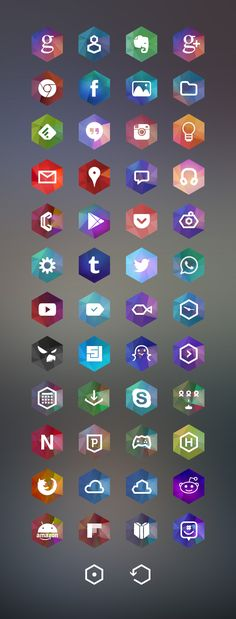 Hexagon Android Icon Set