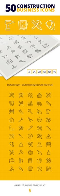 These 50 Construction Business resizable Icons are perfect for web, banners, advertising, any print template like flyers, brochures, posters or business cards and many others.