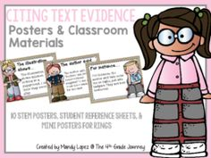 Citing Text Evidence Giveaway - Get a head start on your back to school to-do list! Win these text evidence reference tools, print, and they're ready to use!.  A GIVEAWAY promotion for Citing Text Evidence Posters