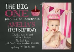 Photoshop Template First St One Birthday Invite Invitation Card - How to make a birthday invitation in photoshop elements