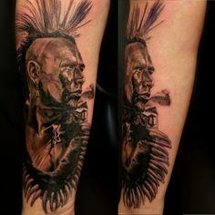 black and grey pawnee indian tattoo. realistic tattoo by Ricardo van 't Hof Black And Grey, Van, Indian, Portrait, Tattoos, Tatuajes, Headshot Photography, Tattoo, Portrait Paintings