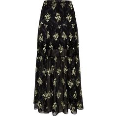 9f248695f River Island Black floral print tiered maxi skirt ($90) ❤ liked on Polyvore  featuring