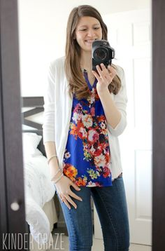 Dear Stitch Fix Stylist, I am loving this tank/blouse with its vibrant florals and one of my favorite colors, cobalt blue! I love how the top fits loosely on Maria without being too baggy. Could you include this top (with a similar fit) in my next fix? Thanks! Laura