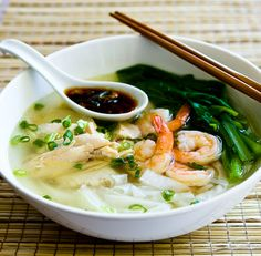 Malaysian Chicken Noodle Soup with Asian Greens and Chili-Soy Sauce