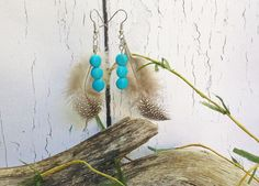 Feather Earrings ~ Cree Metis Canadian Aboriginal, Genuine Turquoise December Birthstone, Gift Under 25, Stocking Stuffer ~ Bijoux Ethniques by blueworldtreasures. Explore more products on http://blueworldtreasures.etsy.com